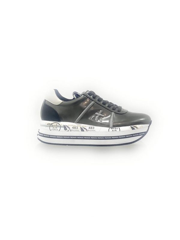Premiata Beth_3466 Sneakers Donna in Pelle Grigio Laminato. Acquistala su ViaRomaBoutique.it