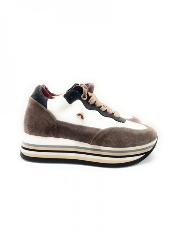Ed Parrish Bnld-Vd01, Sneaker in pelle laminata multicolore.  Tallone in cavallino, Passalacci in camoscio. Acquistalo su ViaRomaBoutique.it