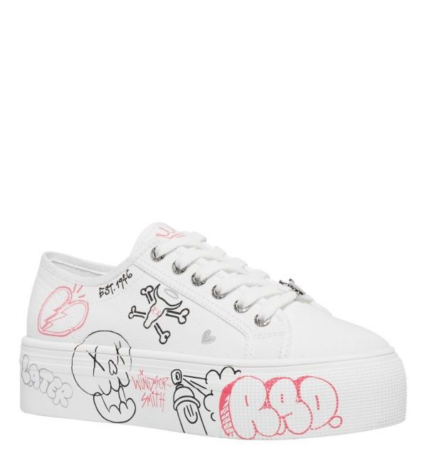 WindsorSmith Sneakers Donna, Sneaker con tomaia in tela bianca Design Graffiti su occhielli con lacci Logo Windsor Smith. Acquistalo su ViaRomaBoutique.it